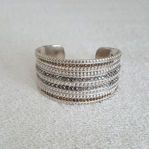 New Lucky Brand Two Tone Pave Cuff Bracelet